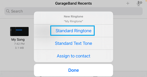 Set As Standard Ringtone Option in GarageBand