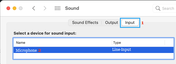 External Microphone on Sound Settings Screen