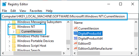 Find Windows 10 Product ID Using Registry Editor