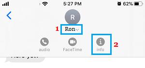iMessage Sender Info Tab