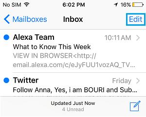 iPhone Mail App Inbox Edit Option