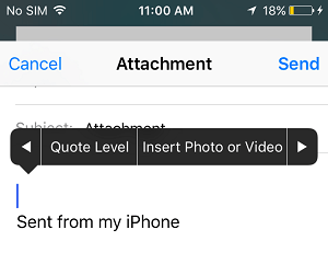 Insert Photo or Video Attachment to Email on iPhone