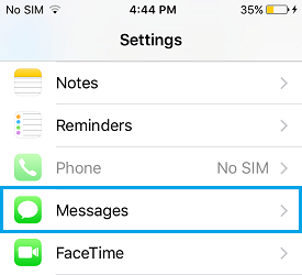 iPhone Settings Messages Option