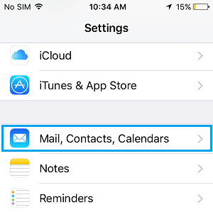 Mail Contacts and Calendars Section on iPhone Settings