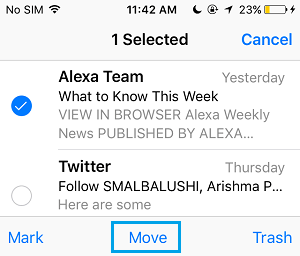 Select Mail On iPhone Mail App