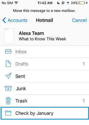 Move Email To New Mail Folder on iPhone