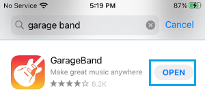 Open GarageBand App on iPhone