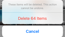 Option to Delete Photos or Cancel the action