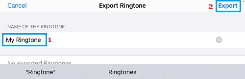 Export Ringtone Option in GarageBand