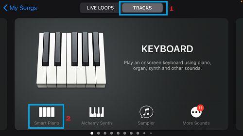 Select Instrument in GarageBand App