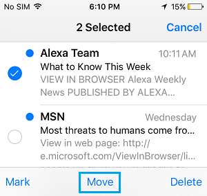Select Messages To Move to Inbox From Trash Folder