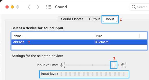 Select Microphone on Mac