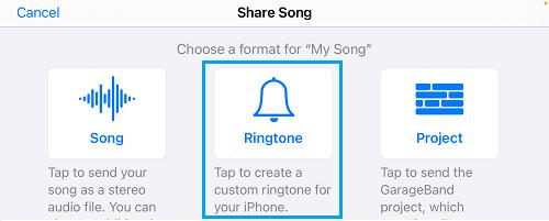 Share Song As Ringtone Option in GarageBand