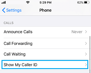 Show My Caller ID Option on iPhone
