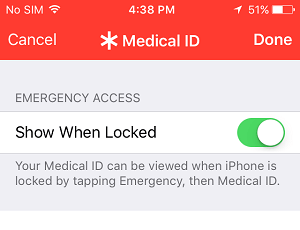 Show Medical ID When Phone is Locked Option