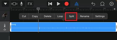 Split Option in GarageBand