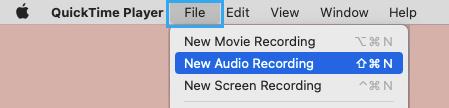 Start New Audio Recording on Mac
