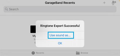 Use Sound As Option in GarageBand
