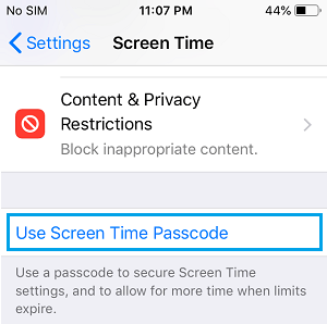 Use Screen Time Passcode option on iPhone