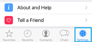 WhatsApp Settings Option on iPhone