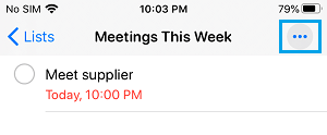 3 Dots Menu Icon in Reminder App on iPhone