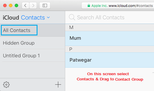 All Contacts Tab on iCloud