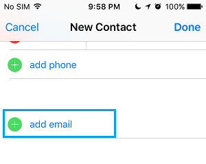 Add Contact Email Address
