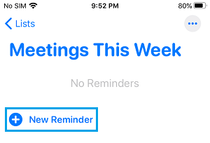 Add New Reminder to Reminders List on iPhone