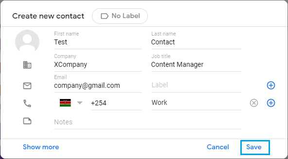 Enter New Gmail Contact Details
