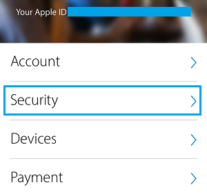Apple ID Security Tab