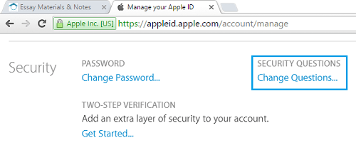 Change Apple Id Security Questions Tab