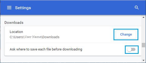 Change Chrome Download Location