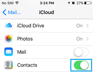 Set Contacts to Sync to iCloud