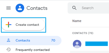 Create New Gmail Contact