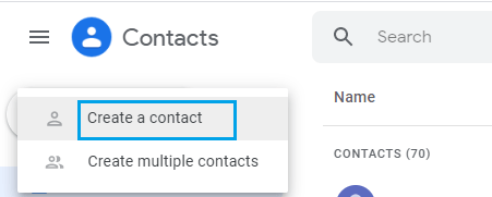 Create Single Gmail Contact