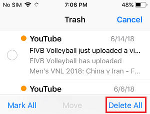 Delete All Emails From Trash on iPhone