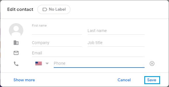 Edit Gmail Contact Screen