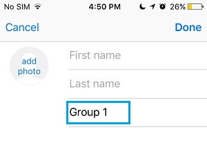 Name the Contact Group