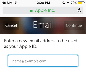Enter New Apple ID