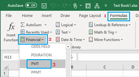 Get PMT Function from Formulas Tab in Excel
