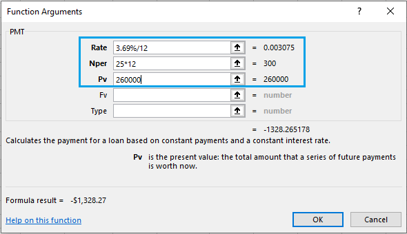 PMT Function Arguments Box in Excel