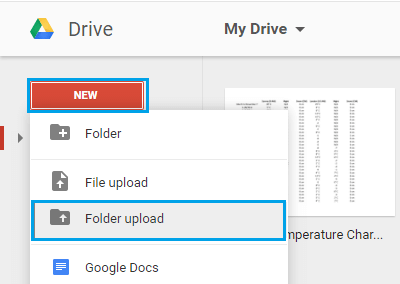 Upload Folder to Google Drive