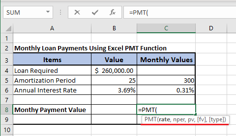 Syntax of Excel PMT Function