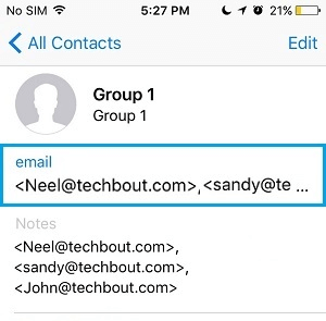 Group Contact's Profile