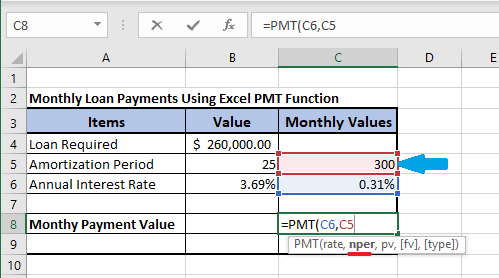 Input nper in Excel PMT Formula