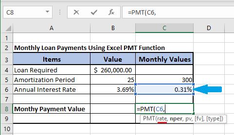 Input Rate in Excel PMT Formula