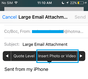 Insert Photo Video Option in Mail App
