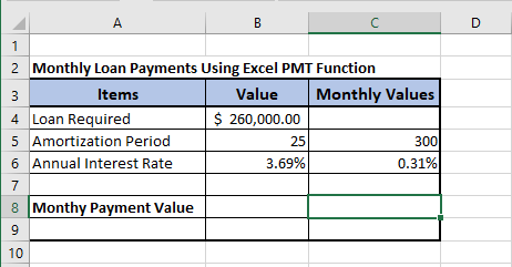Data For Monthly Mortgage Payment Calculation