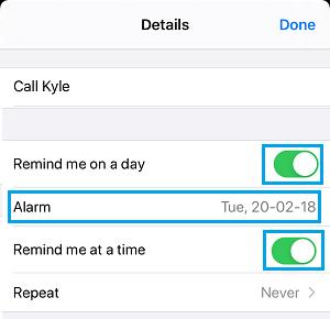 Reminder Alarm Settings Option on iPhone