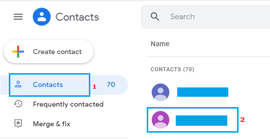 Select Contact to Edit in Gmail